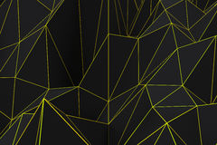 Dark low poly displaced surface with glowing connecting lines. Abstract futuristic background made of polygonal shape. Dark low poly displaced surface with Royalty Free Stock Photos