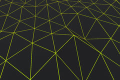Dark low poly displaced surface with glowing connecting lines. Abstract futuristic background made of polygonal shape. Dark low poly displaced surface with Stock Images