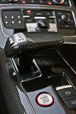Dark luxury car Interior. Tuning. Karbon. Interior detail stock image