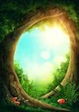 Dark magic forest. With sunshine Stock Illustration
