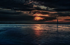 Dark Magical Sunset. Bold, cinematic, dark and magical sunset over the sea Royalty Free Stock Photo