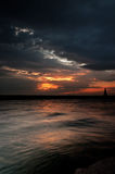 Dark Magical Sunset. Bold, cinematic, dark and magical sunset over the sea Stock Image