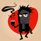 Dark man and and hot drink Royalty Free Stock Images