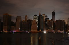 Dark Manhattan. After hurricane Sandy, lower Manhattan is without electrical power. The skyline is eerily dark Stock Images
