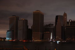 Dark Manhattan. After hurricane Sandy, lower Manhattan is without electrical power. The skyline is eerily dark Royalty Free Stock Photography