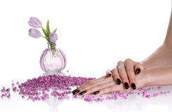 Dark Manicure And Lilac Spa Still Life Royalty Free Stock Images