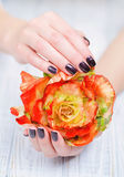 Dark manicure and flowers Royalty Free Stock Photo
