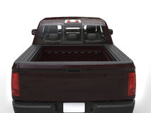 Dark maroon modern pick-up truck back view closeup shot Stock Images