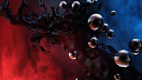Dark Matter. High quality, stylized and unique abstract type of rendering of dark matter with strange reflective orbs around it. Ideal for cover art and royalty free illustration