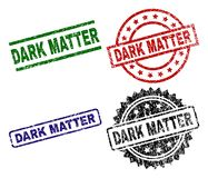 Grunge Textured DARK MATTER Seal Stamps. DARK MATTER seal prints with damaged style. Black, green,red,blue vector rubber prints of DARK MATTER tag with grunge vector illustration