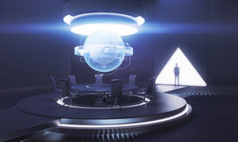 Dark meeting room with male shadow. Dark meeting room interior with globe above table and businessman`s shadow. International business concept. 3D Rendering Stock Photography