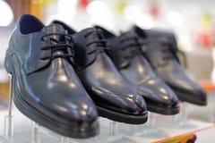 Bright men`s black leather shoes, adobe rgb Stock Photos
