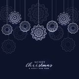 Dark merry christmas background with hanging balls. Vector stock illustration