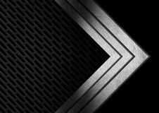Dark Metal Abstract Background with Arrows. Abstract background with dark black metallic grid and three metal arrows Royalty Free Stock Photography