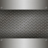 Dark Metal Background with plates and rivets. Royalty Free Stock Photo