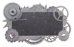 Dark metal blank old label in gears isolated on white Royalty Free Stock Image