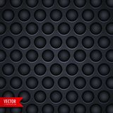 Dark metal texture background with holes. Vector stock illustration