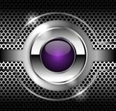 Dark metal texture and the glass button in the center. Stock Image
