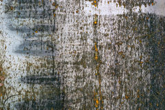 Dark metal texture with grunge cracks. Cracked paint on a metal surface. Urban background with transitions of rough paint.  Royalty Free Stock Photography