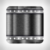 Dark metal texture icon. (button) on neutral background, template for applications (app), web user interfaces, internet sites and business presentations Royalty Free Stock Photo
