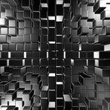 Dark Metallic Silver Cubes Wall Background. 3d Render Illustration Stock Image