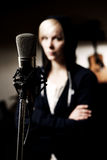 Dark microphone Royalty Free Stock Images