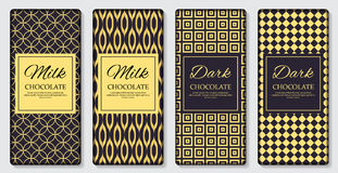 Dark and Milk Chocolate Bar Design Template. 3D Realistic Vector Iillustration Stock Photos
