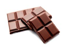 Dark milk chocolate bars stack isolated on a white Royalty Free Stock Photography