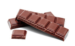 Dark milk chocolate bars stack  on a white Stock Images
