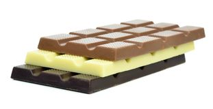 Dark milk and white chocolate bars Royalty Free Stock Photo