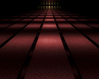 Dark mirrored hallway. Very long red carpeted, mirrored hallway with a door at the end with infinite reflections vector illustration