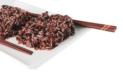Dark mixed rice on plate Royalty Free Stock Photo