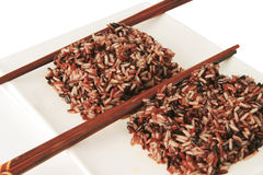 Dark mixed rice on plate Stock Photography
