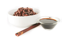 Dark mixed rice in white bowl Royalty Free Stock Image
