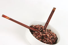 Dark mixed rice in white bowl Stock Photos