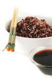 Dark mixed rice in white bowl Stock Photo