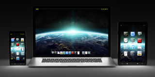Dark modern computer laptop mobile phone and tablet 3D rendering Royalty Free Stock Photos