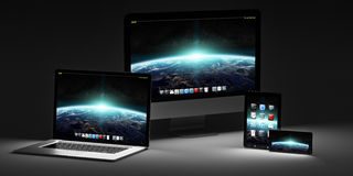 Dark modern computer laptop mobile phone and tablet 3D rendering. Modern computer laptop mobile phone and tablet in the dark 3D rendering Stock Image
