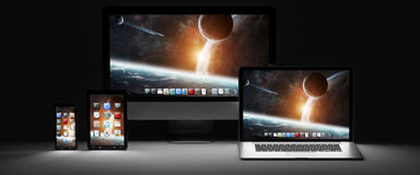Dark modern computer laptop mobile phone and tablet 3D rendering Stock Photos