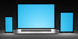 Dark modern computer laptop mobile phone and tablet 3D rendering Royalty Free Stock Photography