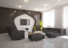 Dark modern design interior Stock Photos