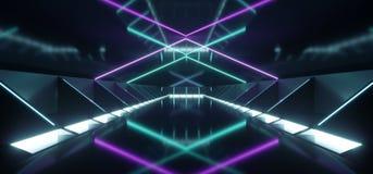 Dark Modern Futuristic Alien Reflective Concrete Corridor Tunnel. Empty Room With Purple And Blue Neon Glowing Lights Background 3D Rendering Illustration vector illustration