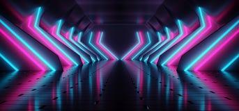 Dark Modern Futuristic Alien Reflective Concrete Corridor Tunnel. Empty Room With Purple And Blue Neon Glowing Lights Background 3D Rendering Illustration stock illustration