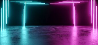 Dark Modern Futuristic Alien Reflective Empty For Text Room With. Purple And Blue Shaped Neon Glowing Light Tubes Background Grunge Concrete Floor 3D Rendering vector illustration