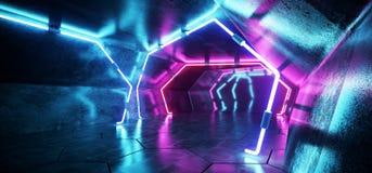 Dark Modern Futuristic Alien Reflective Grunge Concrete Corridor stock illustration