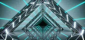 Dark Modern Futuristic Sci-Fi Alien Ship Tunnel With White And B. Lue Glowing Abstract Shape Lights And Reflective Surface With Black End And Empty Space 3D Vector Illustration