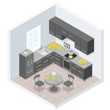 Dark modern kitchen. Furniture design illustration vector illustration