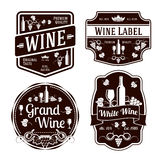 Dark monochrome wine labels of different shapes Royalty Free Stock Image