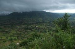 Dark monsoon landscape at Sajjangad Stock Images