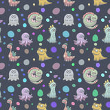 Dark monsters pattern. Seamless vector pattern with cartoon monsters, background for fabric or wrap paper Royalty Free Stock Photography